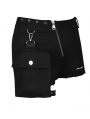 Black Women's Gothic Punk Shorts with Side Bag
