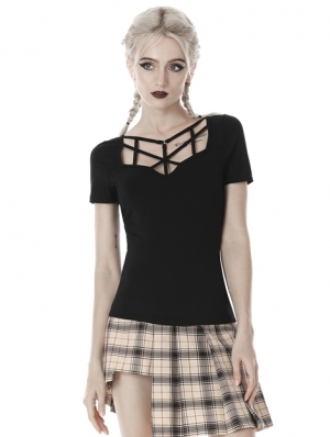 Black Gothic Punk Short Sleeves Hollow-Out T-Shirt for Women