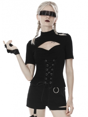 Black Gothic Short Sleeves T-Shirt for Women