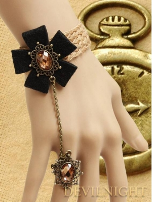 Black Vintage Flower Pendant Gothic Bracelet Ring Jewelry