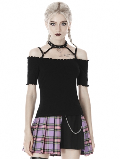 Black Sexy Gothic Punk Off-the-Shoulder Short Sleeves T-Shirt for Women