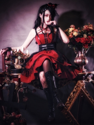 The Dark Nightmare Red Gothic lolita JSK Dress