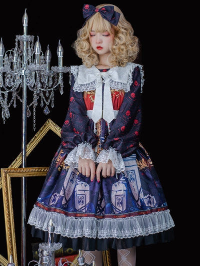 The Lost Angels Pattern Black Gothic Long Sleeve Lolita OP Dress