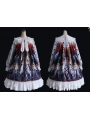 The Lost Angels Pattern White Gothic Long Sleeve Lolita OP Dress