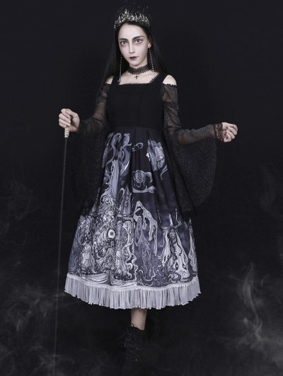 The Place Of Demon Black And White Gothic Lolita JSK Dress
