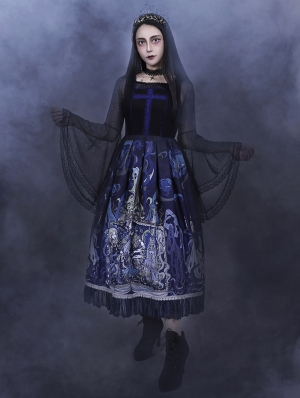 The Place Of Demon Black And Blue Gothic Lolita JSK Dress