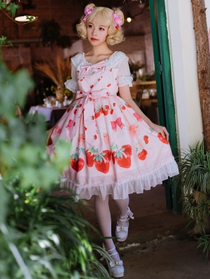 The Cherry and Strawberry Short Sleeve Sweet Lolita OP Dress