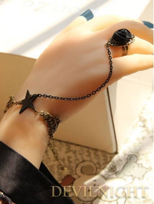 Punk Accessories Star Chain Bracelet Ring Jewelry