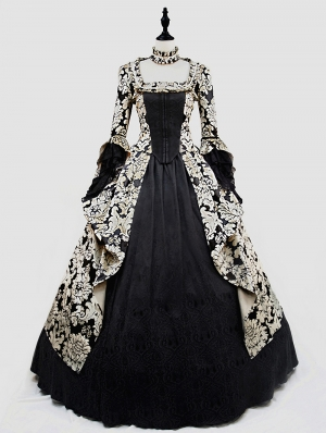 Black and Glod Marie Antoinett Gothic Victorian Ball Gown Dress