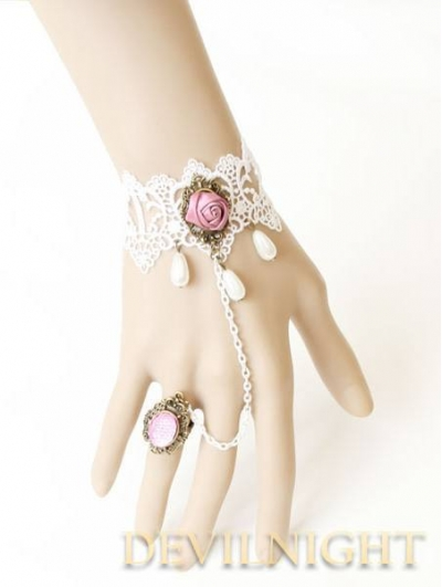 White Lace Flower Vintage Victorian Style Lolita Bracelet Ring Jewelry