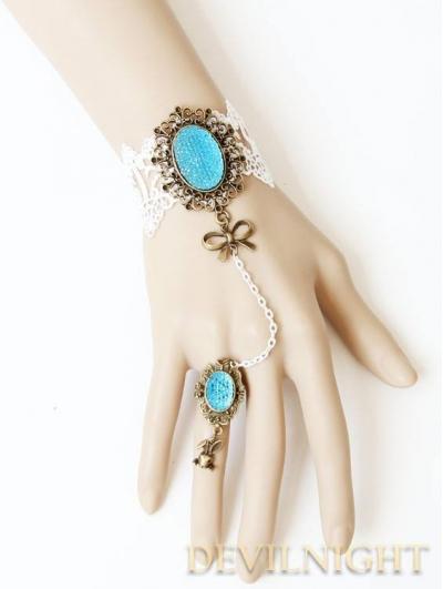 White Lace Blue Pendants Victorian Style Bracelet Ring Jewelry