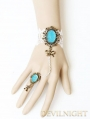 White Lace Blue Pendants Victorian Style Bracelet Ring Jewelry
