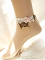 White Lace Flower Vintage Victorian Style Lolita Ankle Bracelet