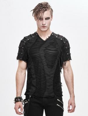 Black Gothic Punk Rock Short Sleeve T-Shirt for Men