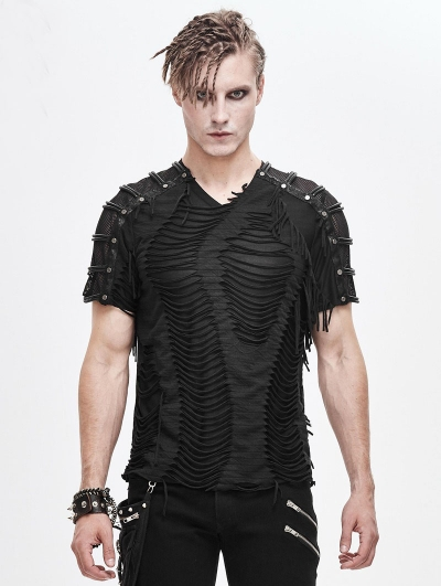 Black Gothic Punk Rock Short Sleeve T-Shirt for Men