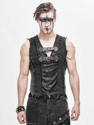 Black Gothic Punk Irregular Buckle Vest Top for Men