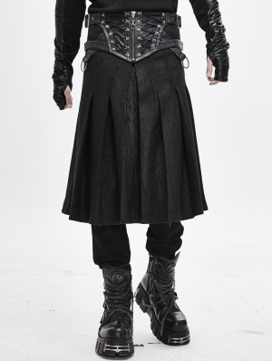 Black Gothic Punk Pleated Half Skirt for Men