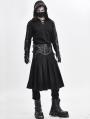 Black Gothic Punk Pleated Half Skirt for Men