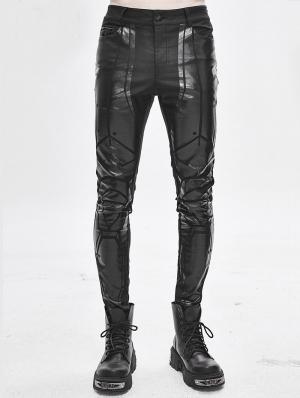 Black Gothic Punk Dark Patterned Suit Trousers for Men