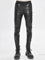 Black Gothic Punk Patterned Trousers for Men