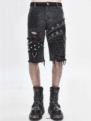 Gothic Punk Rock Rivet Short Jeans for Men