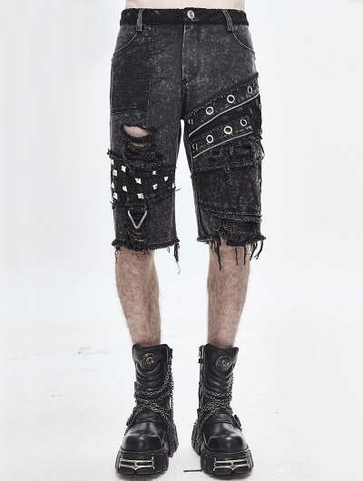 Gothic Punk Rock Rivet Short Jeans for Men