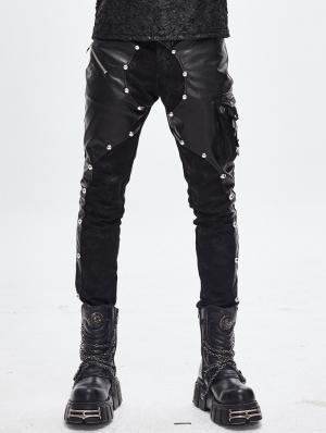 Black Gothic Punk Rock Rivet PU Leather Pants for Men