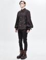 Brown Gothic Steampunk Striped Long Sleeve Shirt for Men