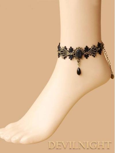 Black Vintage Lace Pendant Gothic Ankle Bracelet