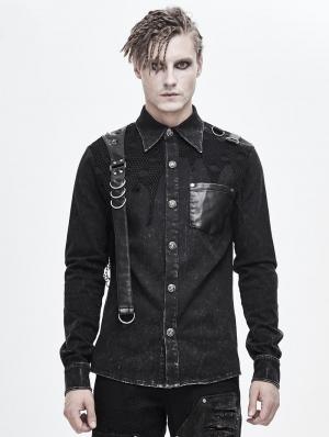 Black Gothic Punk Do Old Denim Long Sleeve Shirt for Men