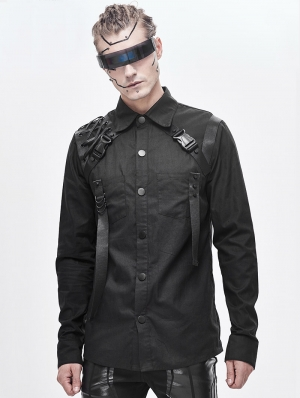 Black Gothic Punk Long Sleeve Shirt for Men