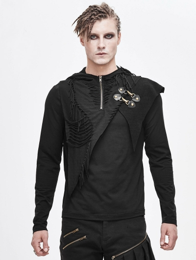 Black Gothic Punk Long Sleeve Hooded T-Shirt for Men