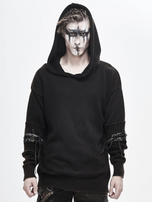 Do Old Gothic Steampunk Long Sleeve Hooded Loose Sweater for Men