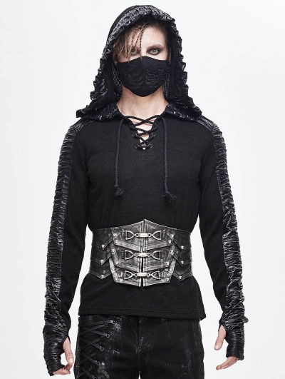 Black Gothic Punk Heavy Metal Buckle PU Leather Waistband for Men