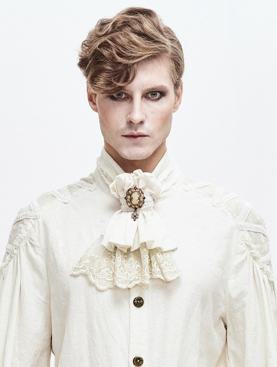 Ivory Retro Palace Gothic Steampunk Bowtie for Men