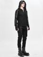 Black Gothic Punk Long Sleeve Hooded T-Shirt for Men