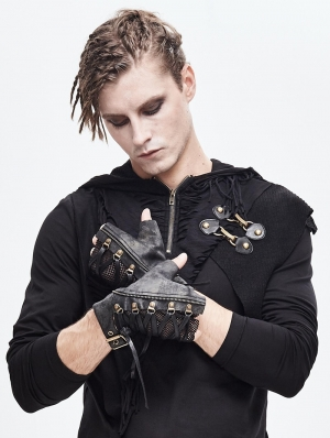 Black Gothic Steampunk PU Leather Gloves for Men