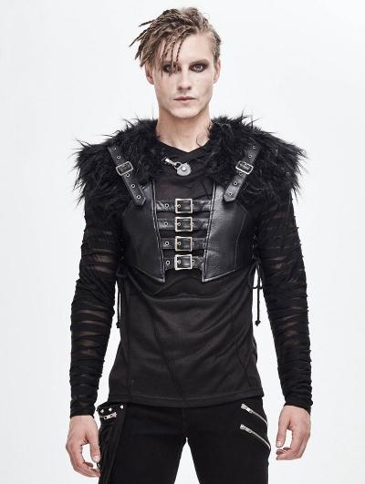 Black Gothic Punk PU Leather Faux Fur Cape for Men