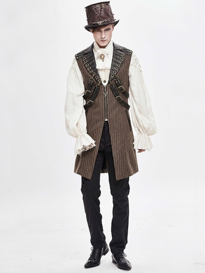Brown Gothic Steampunk Striped Long Vest for Men
