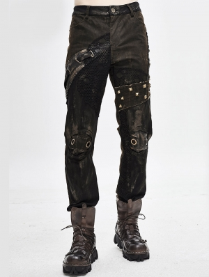 Brown Gothic Punk Do Old Style Rivets Trousers for Men