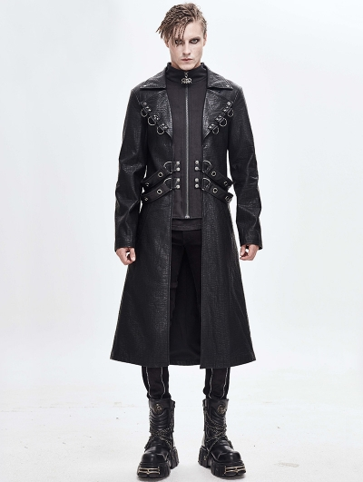 Black Gothic Punk Military Long Coat for Men