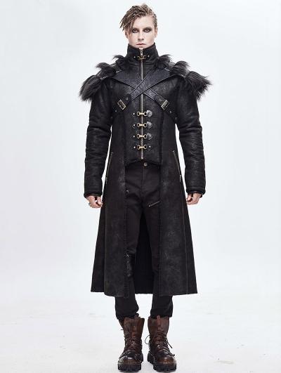 Black Gothic Punk Winter Warm Long Coat for Men
