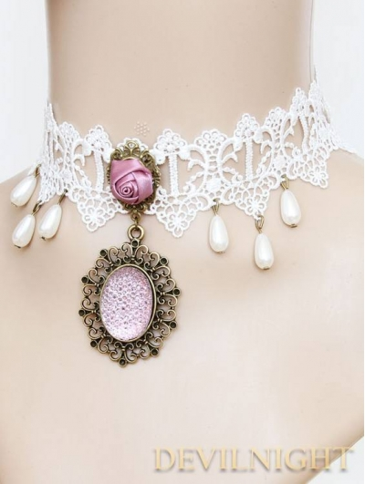 Puprle Pendant Lace Vintage Necklace