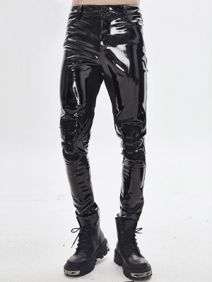 Black Gothic Punk Latex Long Pants for Men