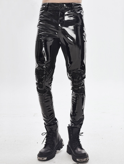 Black Gothic Punk Latex Long Pants for Men