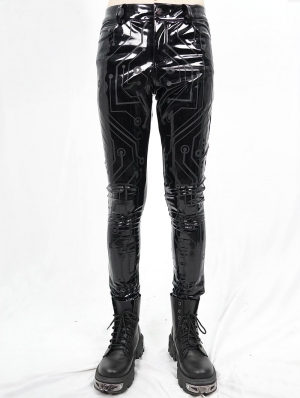 Black Gothic Punk Slim Latex Long Pants for Men