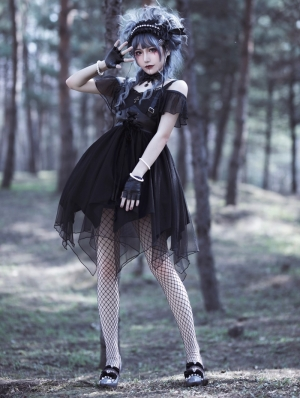Perdition Irregular skirt hem Black Gothic Lolita JSK Dress