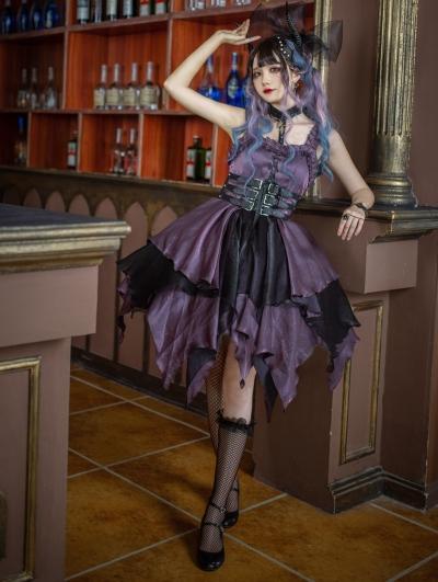The Lust Irregular skirt hem Purple and Black Gothic Lolita JSK Dress