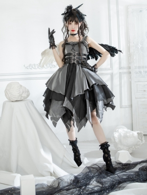 The Lust Irregular skirt hem Grey and Black Gothic Lolita JSK Dress