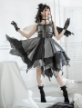 The Lust Irregular skirt hem Grey and Black Gothic Lolita JSK Dress